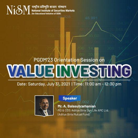 PGDM'23 Orientation Session on Value Investing