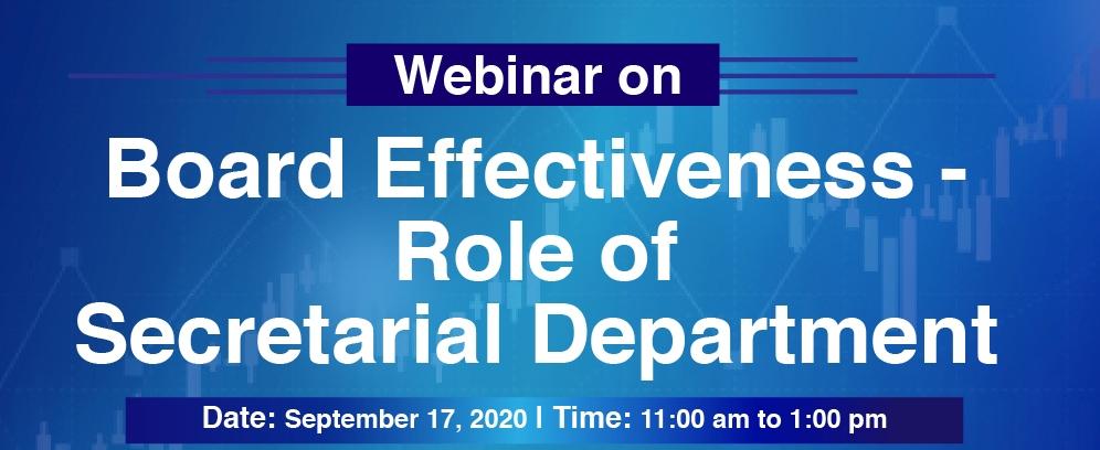 Webinar on Board Effectiveness Role of Secretarial Department